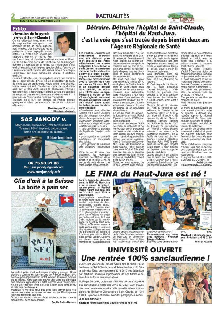 le FINA mis à l'honneur par l'hebdo du haut jura (édition 171, du 13 au 27 septembre 2018 - page 2)